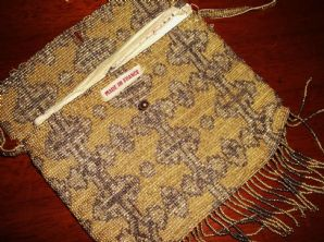 ELEGANT VINTAGE FRENCH BEADED PURSE GOLD BRONZE KID LEATHER LINING BALL TLC
